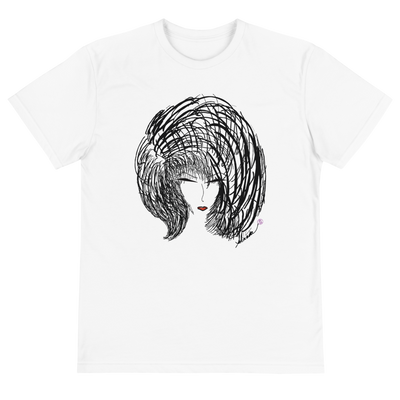 White unisex Eco Tee made from organic cotton and recycled poly rPet with original design.