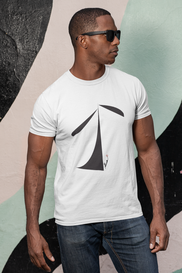 White unisex eco tee shirt with original design.