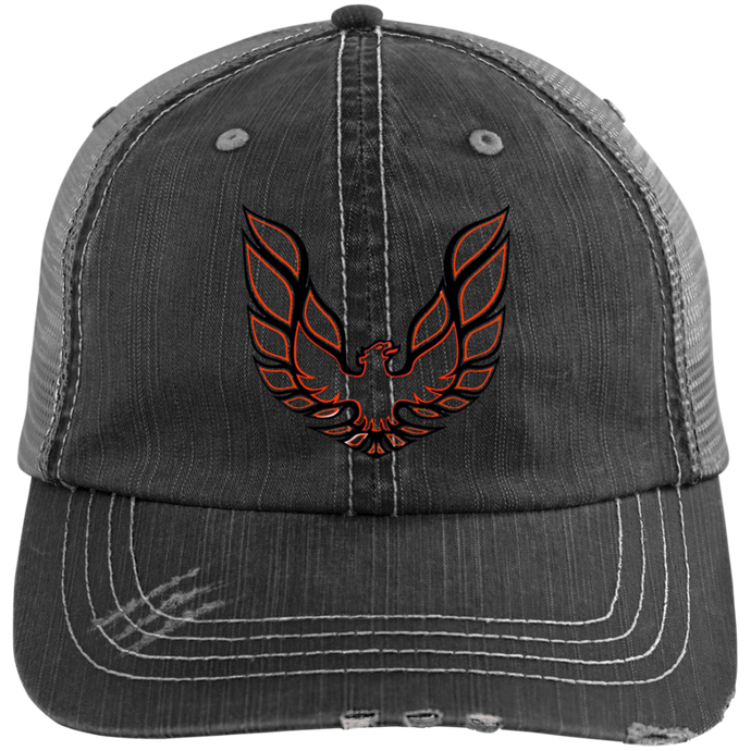 Firebird Distressed Trucker Cap, Hats - MotorClub Clothes