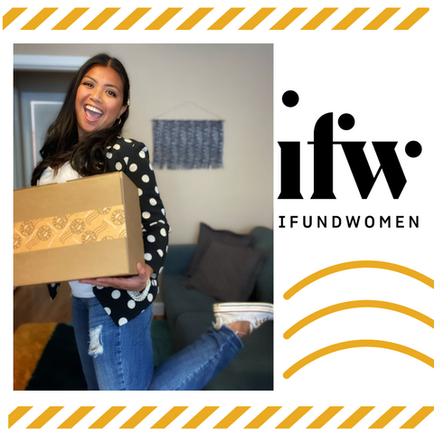 Woman promoting Bad Day Box and iFundWomen logo