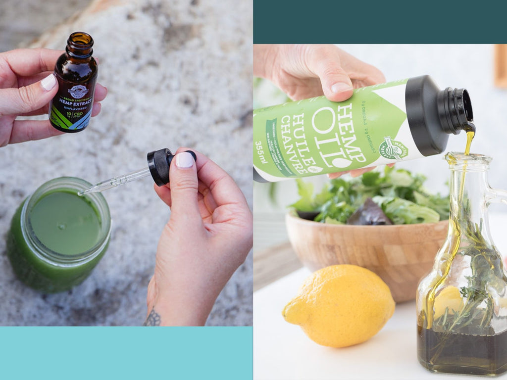 Side-by-side images of hemp oil being used in drinks