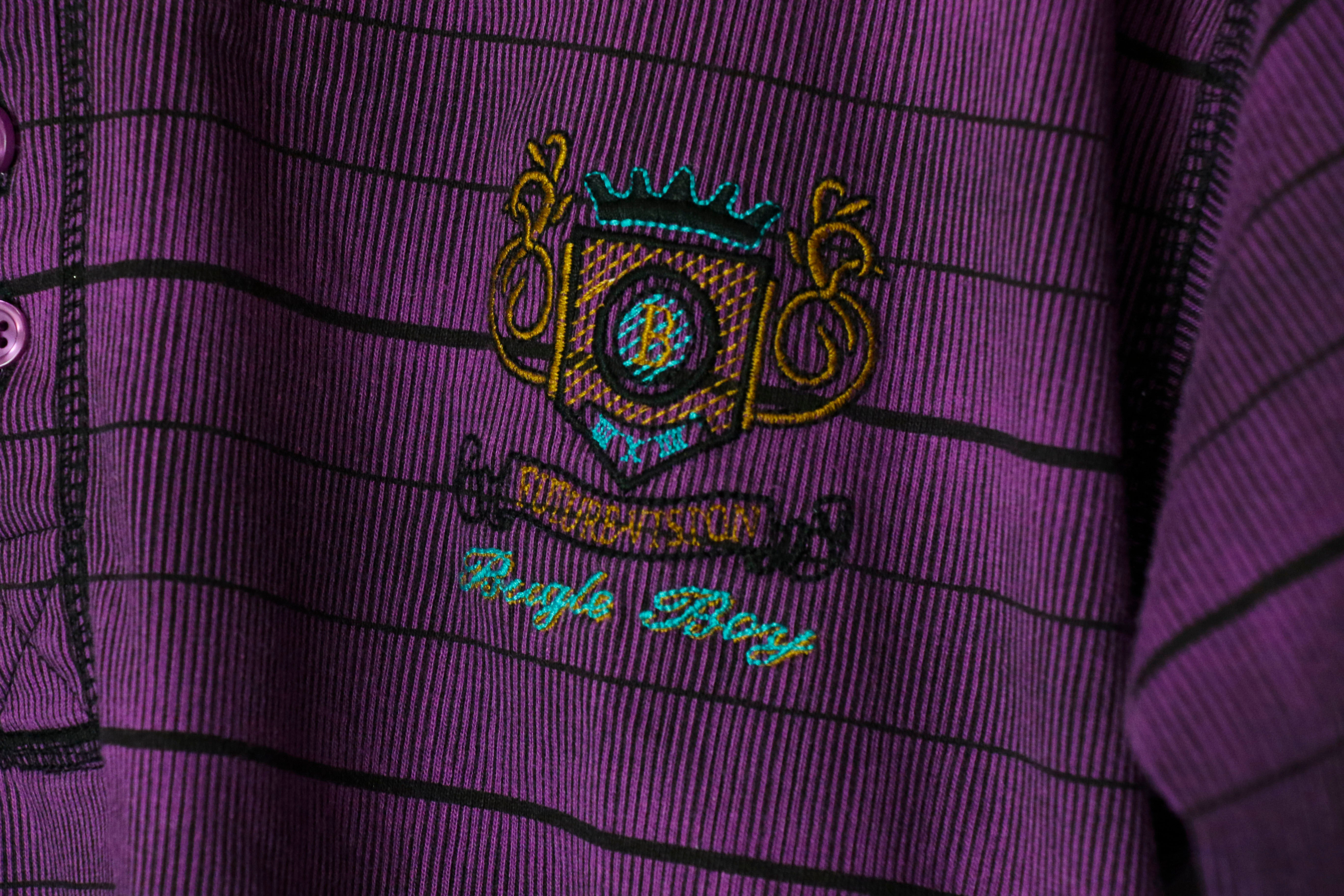 [S] Bugle Boy Purple Striped Henley