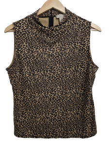 [XL] Cheetah Print Mock Neck Top