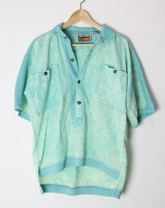 [S] 1980s Surf Ribbed Acid Wash Shirt