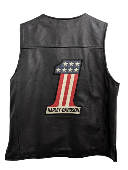 [L] Vintage Harley Davidson Leather Vest with Patches