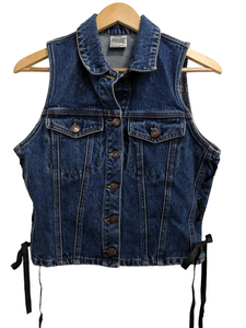 [L] Vintage Jordache Denim Vest with Lace-Up Sides