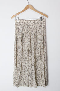 [M] Taupe Pleated Floral Skirt