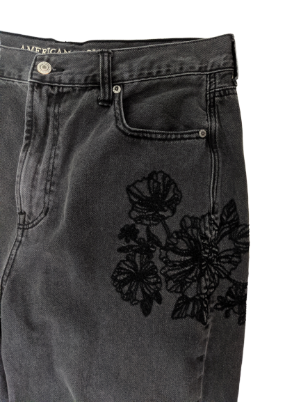 [L] American Eagle High-Waisted Embroidered Jeans