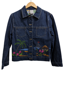 [M] Tropical Embroidered Denim Jacket