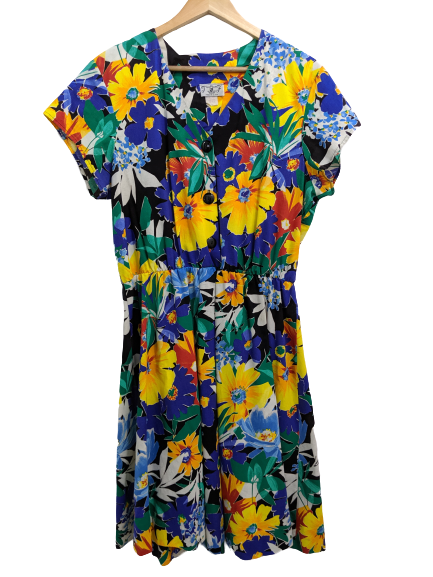 [XL] Vintage 80s Bright Floral Dress