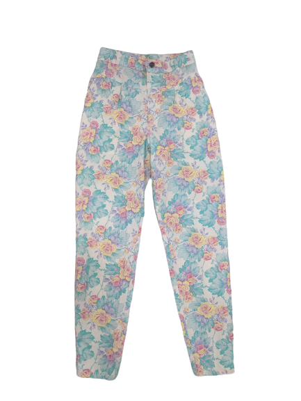 [S] Vintage Chic Pastel Floral High-Waisted Pants