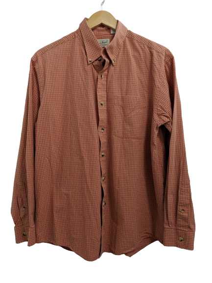 [M] L.L. Bean Orange Plaid Button-Up Shirt