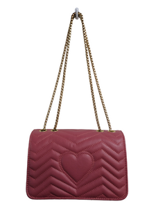 Pink Quilted Faux Leather Purse