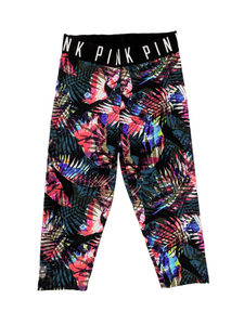 [XS] PINK Tropical Print Cropped Leggings