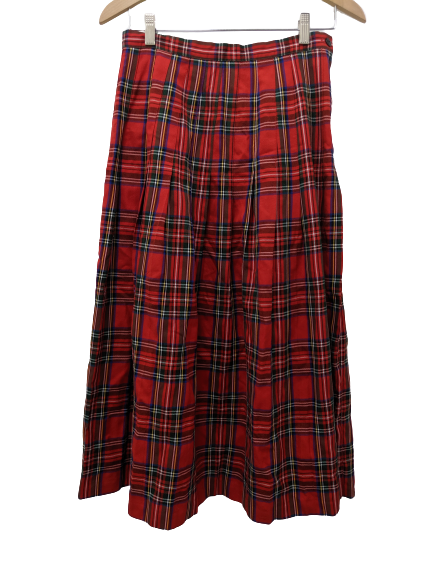 [L] Vintage Tartan Plaid Pleated Maxi Skirt