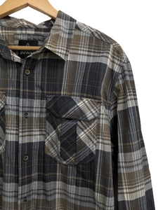 [L] Prana Nylon Plaid Long Sleeve