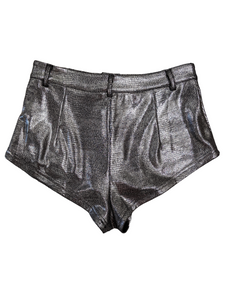 [S] Shein Metallic Silver High-Cut Shorts
