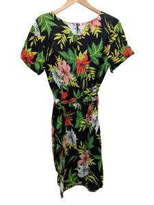 [L] Vintage Tropical Faux Wrap Dress
