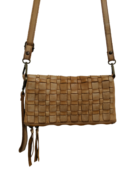 Vintage Woven Leather Crossbody Purse