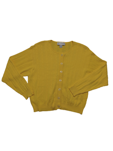 [L] Yellow Cable Knit Cardigan