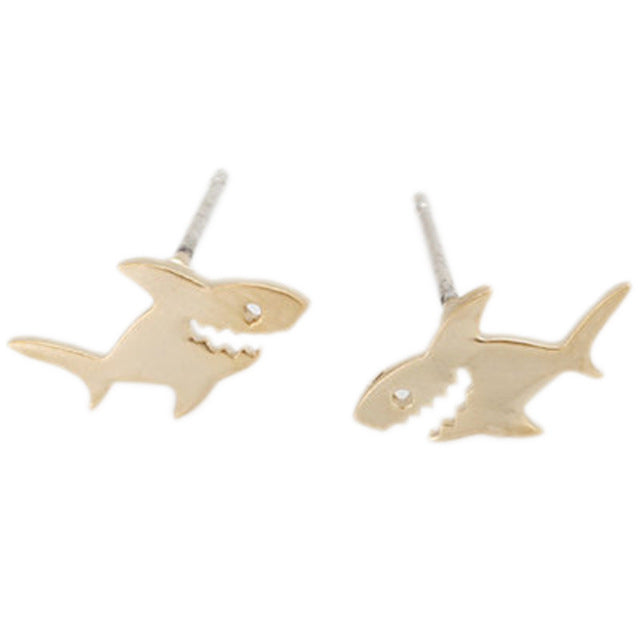 Shark Studs in Silver and Gold Colour