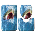 3 piece anti slip Bathroom Shark set. 2 x floor Mats, 1 x toilet lid cover.