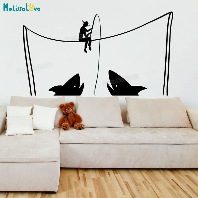 Fishing For Sharks Wall Decal