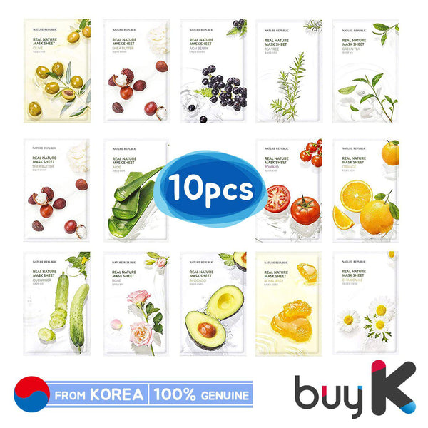 10pcs [NATURE REPUBLIC] Real Nature Mask Sheet - BuyK.KR