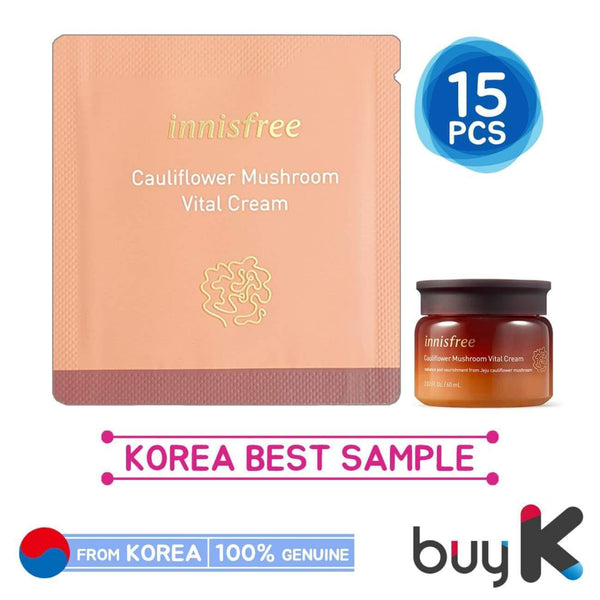 15pcs [INNISFREE] Cauliflower Mushroom Vital Cream 1ml (Sample Sachet) - BuyK.KR