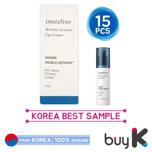 15pcs [INNISFREE] Wrinkle Science Eye Cream 1ml (Sample Sachet) - BuyK.KR