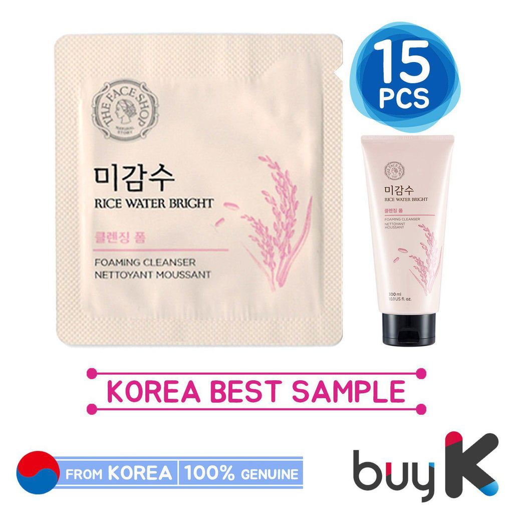 15pcs [THE FACE SHOP] Rice Water Bright Foaming Cleanser 1.5ml (Sample Sachet) - BuyK.KR