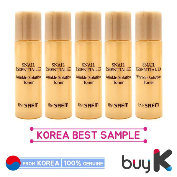 5pcs [THE SAEM] Snail Essential EX Wrinkle Solution Toner 5ml (Sample) - BuyK.KR