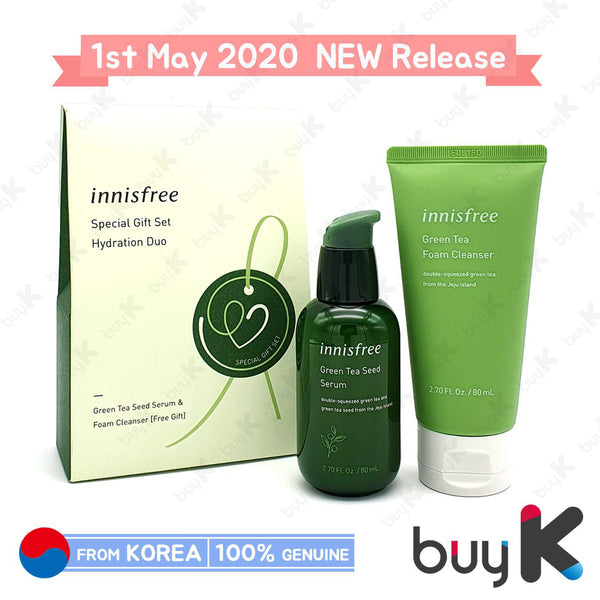 [INNISFREE] Green Tea Seed Serum 80ml + Green Tea Foam Cleanser 80ml (Special Gift Set)
