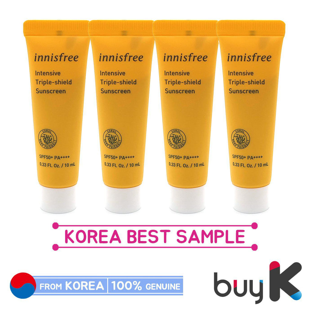 4pcs/40ml [INNISFREE] Intensive Triple-shield Sunscreen 10ml (Sample) (SPF 50+/PA++++) - BuyK.KR