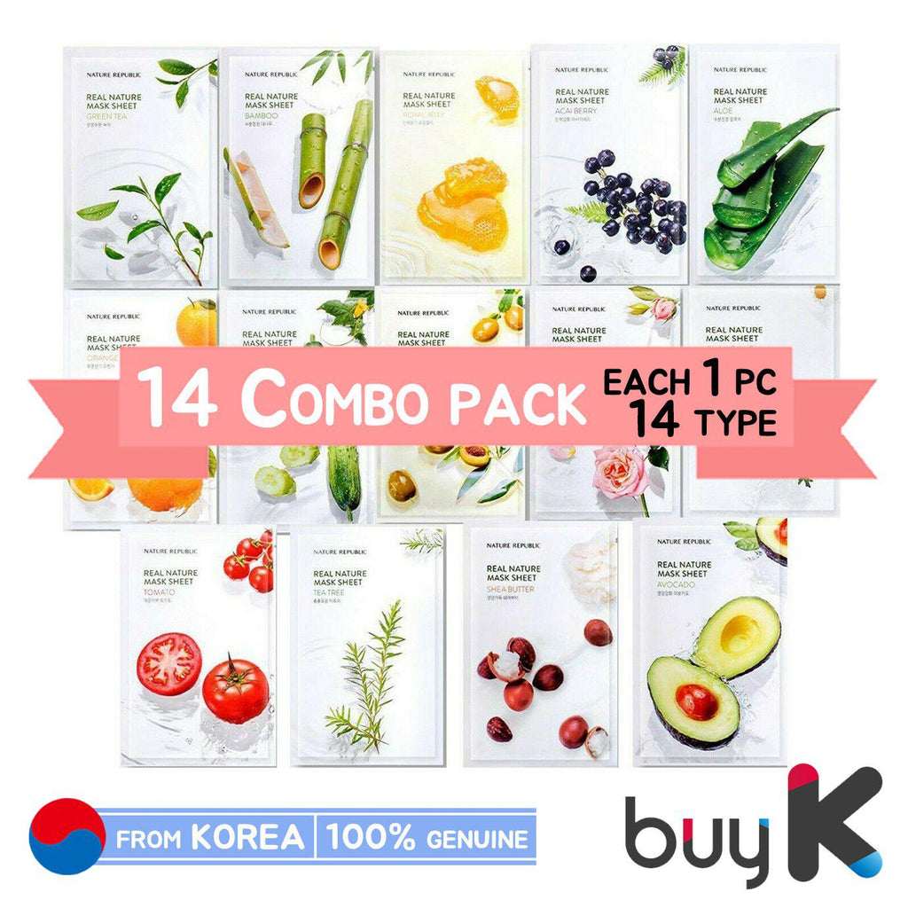 [NATURE REPUBLIC] Real Nature Mask Sheet - 14 Combo Pack (each 1pc X 14 type = 14pcs)