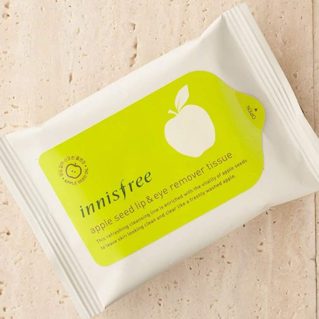 [INNISFREE] Apple Seed Lip & Eye Makeup Remover Tissue (1 pack / 30 sheets) - BuyK.KR