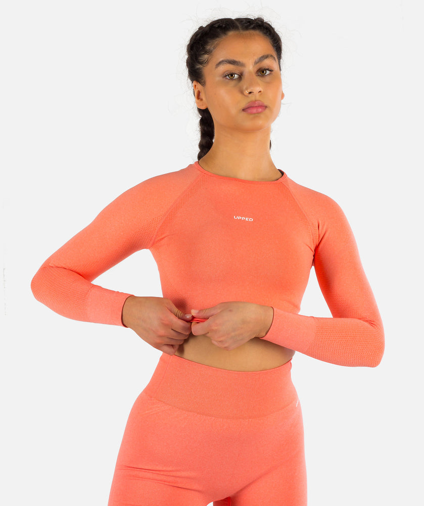 Dream Seamless Long Sleeve Crop Top - Coral