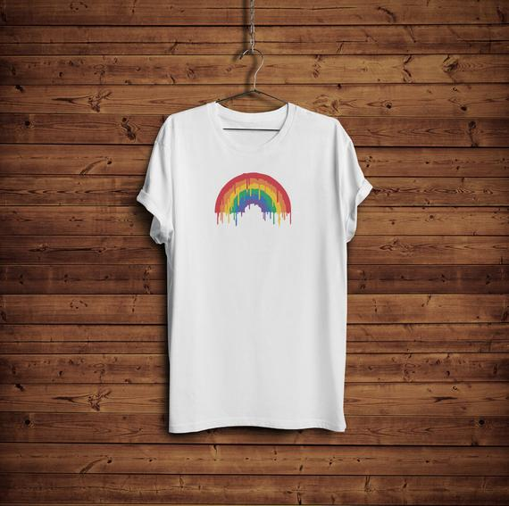 Melting Rainbow Gay Pride T-Shirt on Hanger