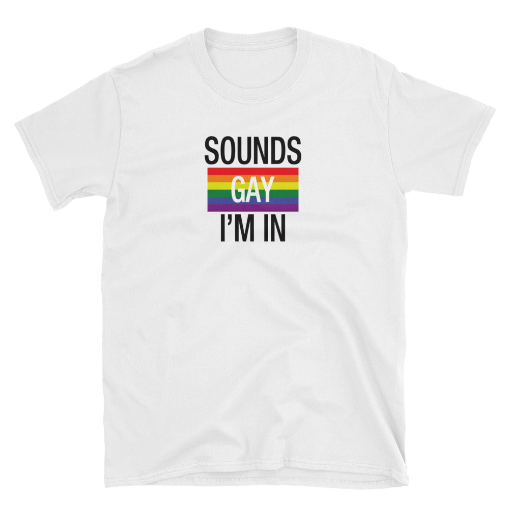 Sounds Gay I'm In - Funny Gay Pride Shirt - Queer Pride Shirt - Cute Shirt for Pride - Unisex White Tee