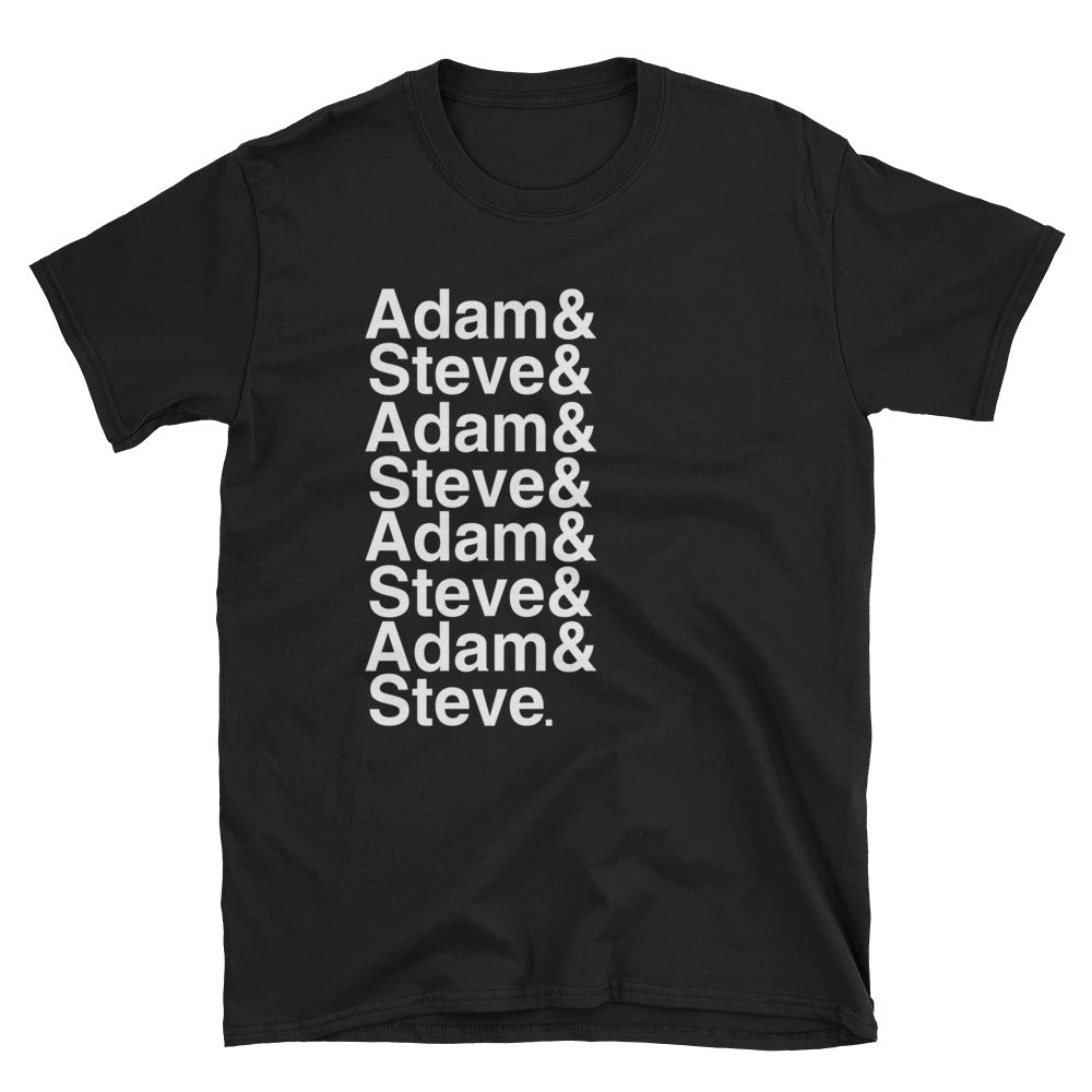 Adam and Steve Name List Funny Gay Pride Shirt - Black Tee