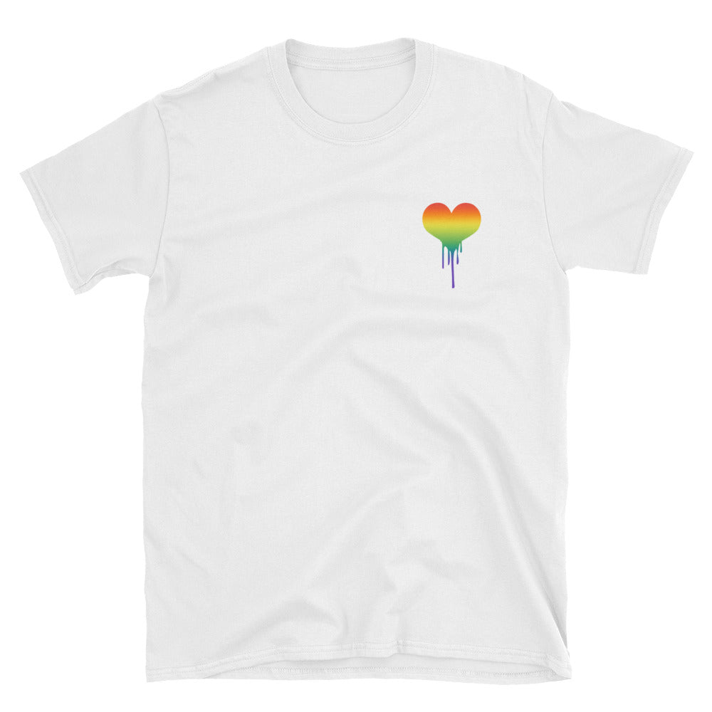 Gay Pride Shirt - Dripping Rainbow Heart - Gay Heart Design - Lesbian Pride Shirt - Cute Shirt for Pride - Unisex White or Black Tee