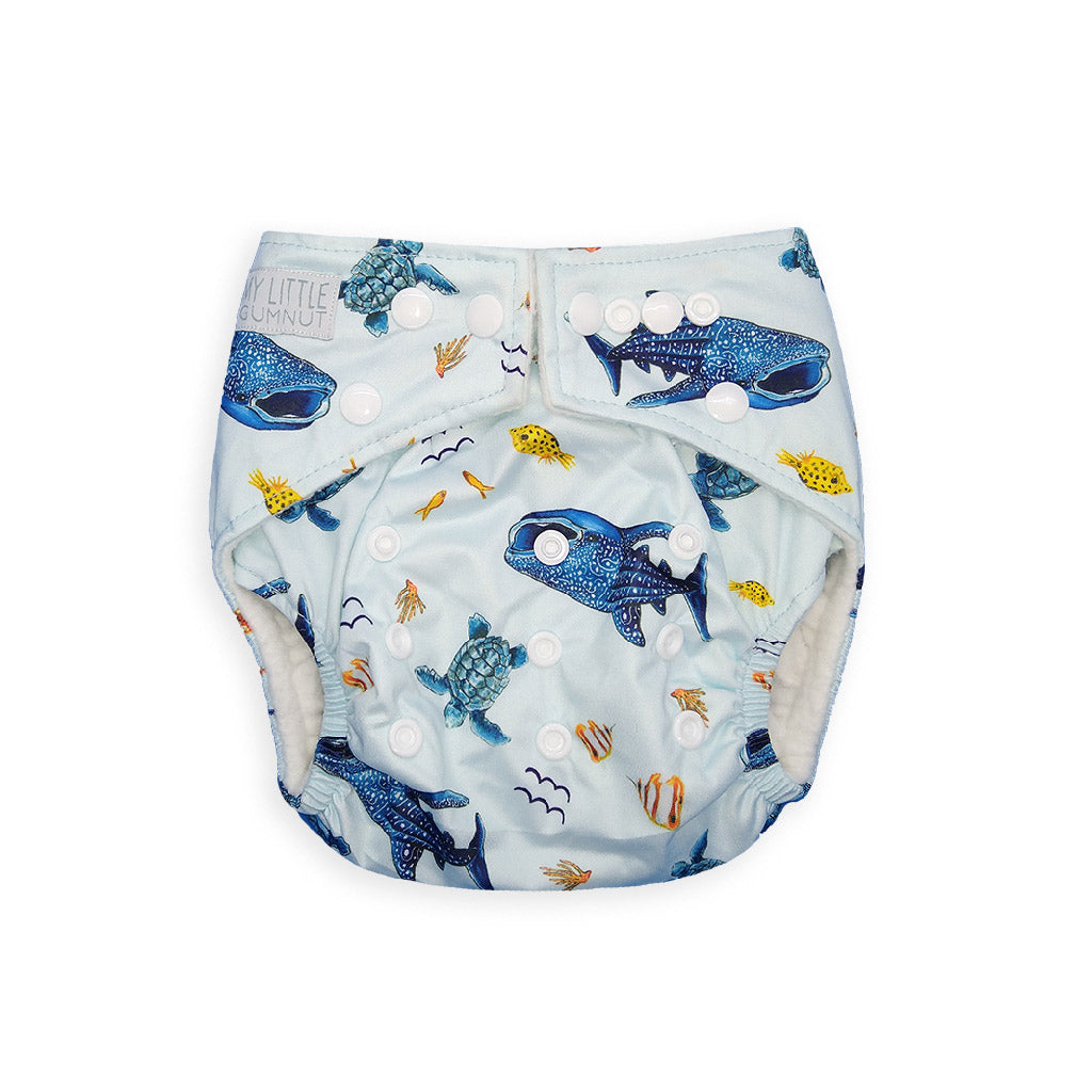My Little Gumnut Reusable Cloth Nappy Bamboo Insert Marine Life