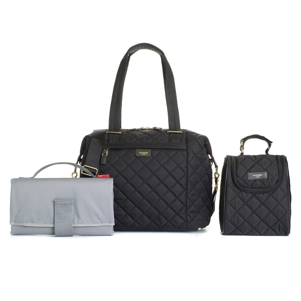 Storksak Black Nappy Bag with Accessories