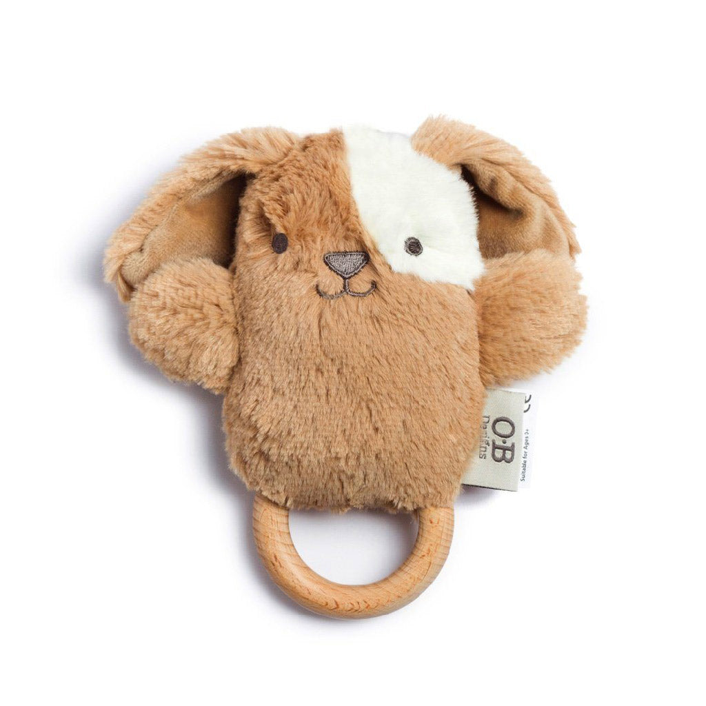 O.B. Designs Wooden Teether and Rattle Duke Dog