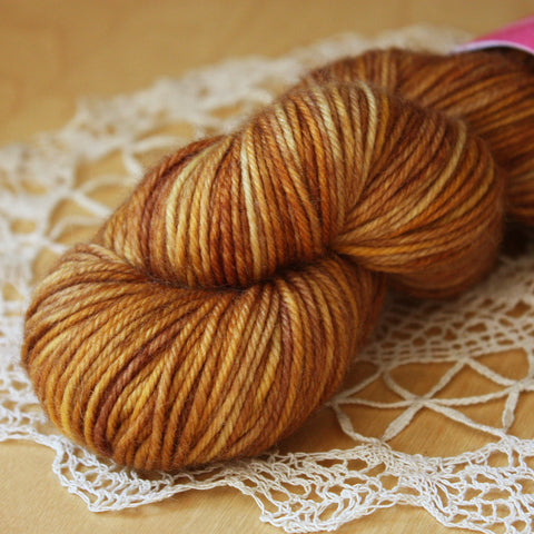Beurre / DK Weight / Antique Gold Superwash Merino Wool Hand Dyed Yarn