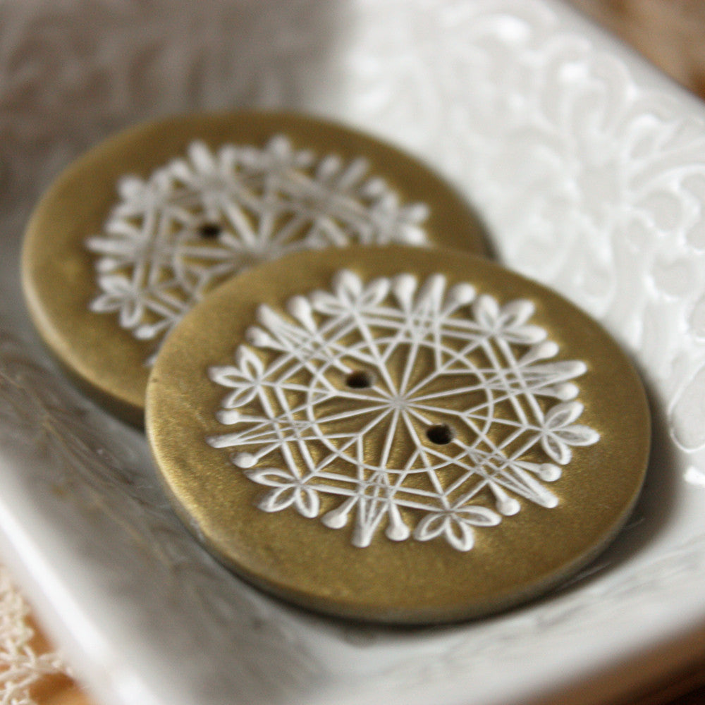 Buttons / Antique Gold Snowflake / Handmade Button Notions