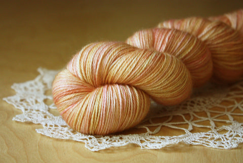 Caresse / Fingering Weight / Pomelo Merino Wool Cashmere Nylon Hand Dyed Yarn / READY TO SHIP