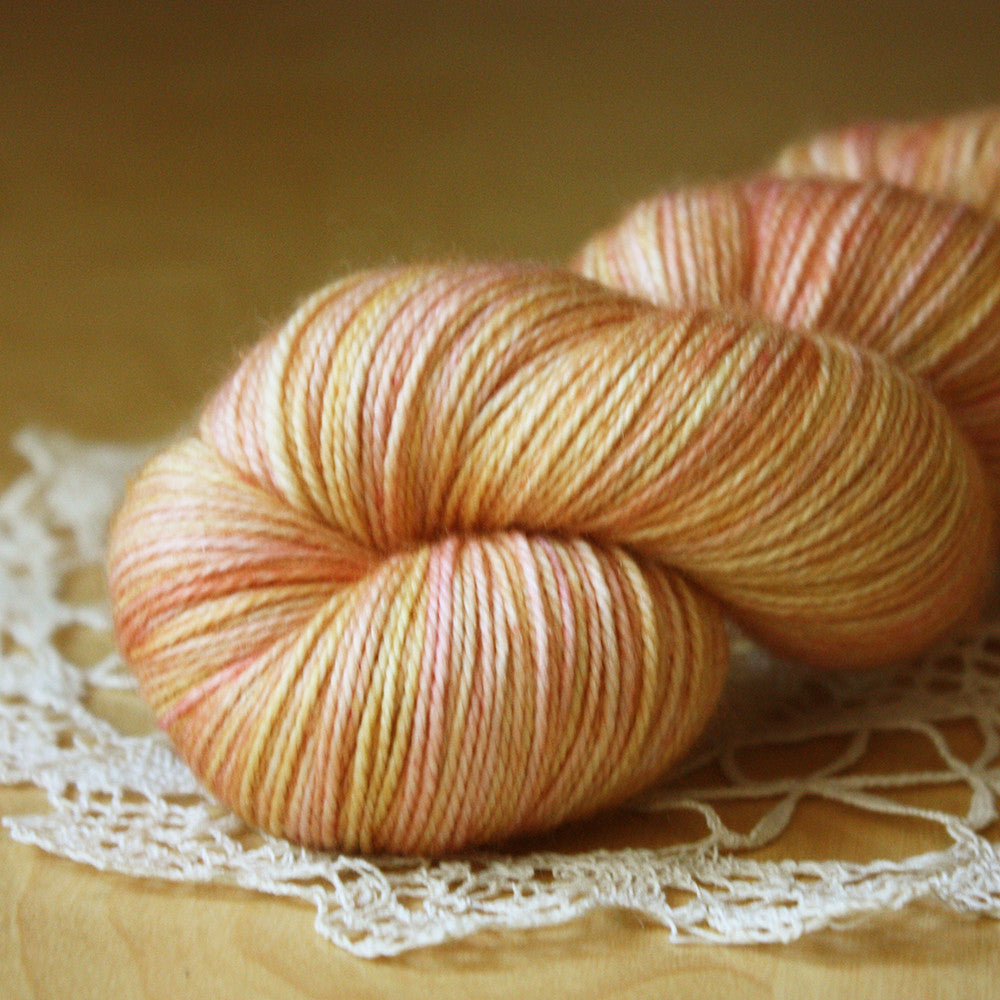 Caresse / Fingering Weight / Pomelo Merino Wool Cashmere Nylon Hand Dyed Yarn