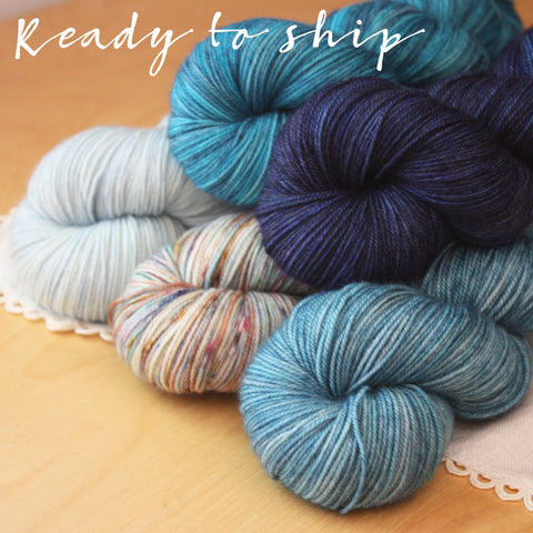 Five Full Skein Blue Fade or Gradient Set / One of a Kind / Hand Dyed Yarn Superwash MCN Fingering Weight 2100 yards