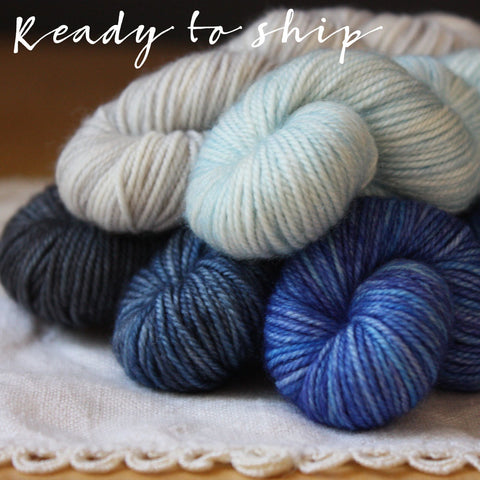 Mini Skeins / 400 Yards / Blue OOAK Gradient Mini Skeins Alluree Fingering Weight Hand Dyed Yarn
